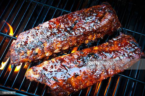 barbecue ribs - barbeque sauce stock photos and pictures