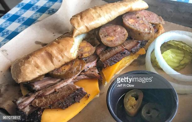 barbecue sandwich with cheese - sausage sandwich stock pictures, royalty-free photos & images