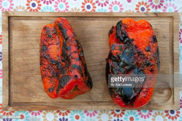 barbecued peppers - roasted pepper stock photos and pictures