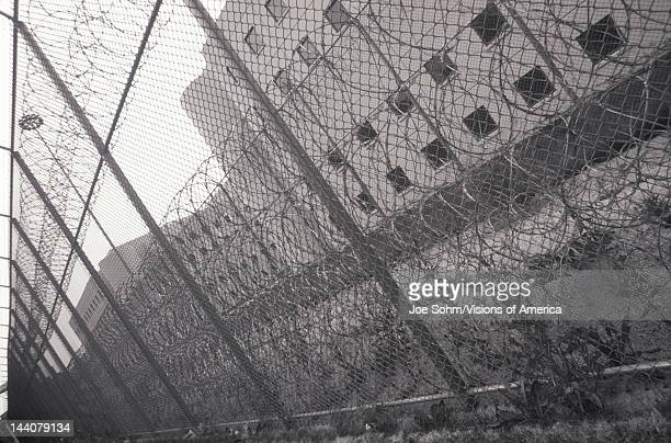 Barbed wire at Cook County prison Chicago Illinois