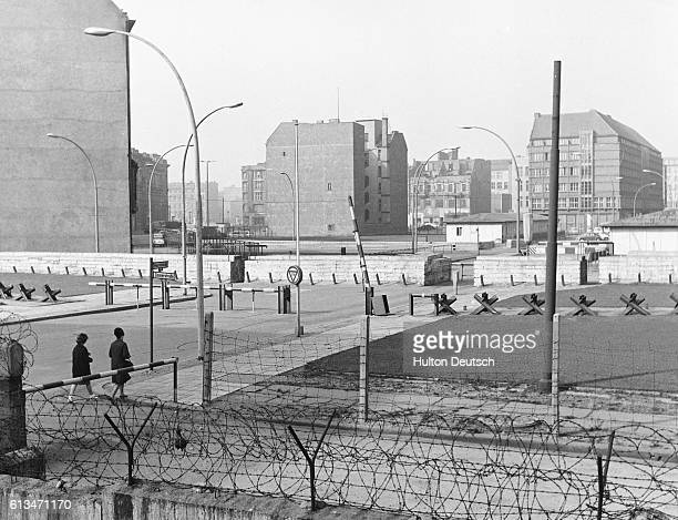 Barbed wire borders the desolate Checkpoint Charlie the US administered gateway between east and west Berlin