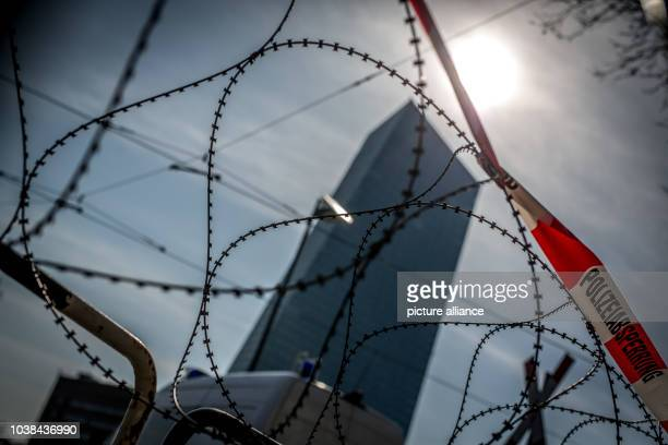 Barbed wire cordons off the area around the new European Central Bank headquarter inFrankfurt Germany 17 March 2015 The new headquarters of the ECB...