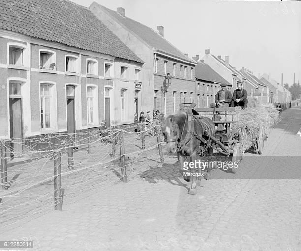 Barbed wire entanglements seen here around the Belgian city of Antwerp October 1914