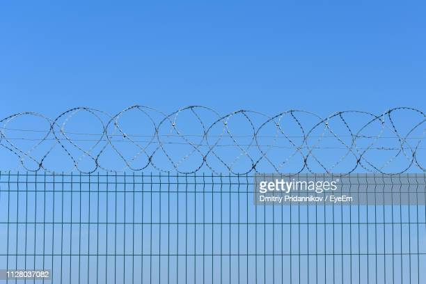 barbed wire fence against clear blue sky - barbed wire stock pictures, royalty-free photos & images
