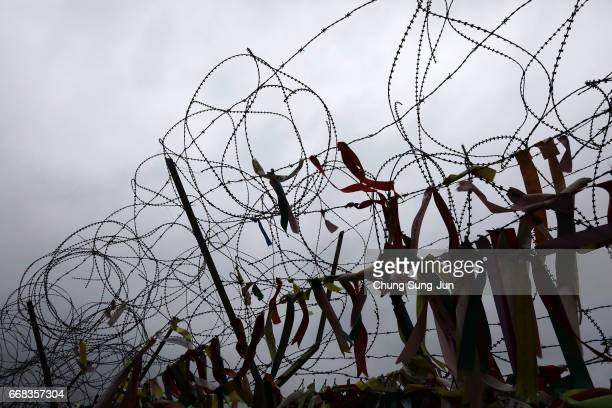Barbed wire fence at the Imjingak near the Demilitarized zone separating South and North Korea on April 14 2017 in Paju South Korea The tension...