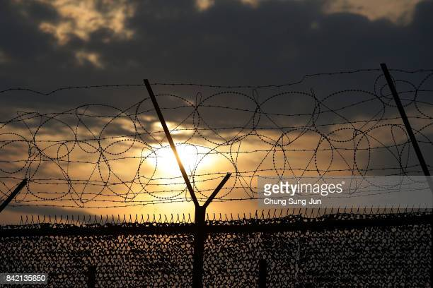 Barbed wire fence at the Imjingak near the Demilitarized zone separating South and North Korea on September 3 2017 in Paju South Korea South Korean...