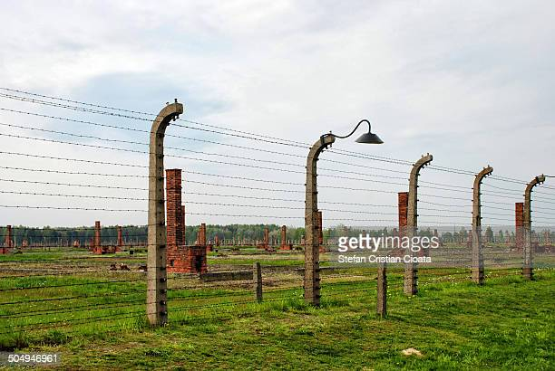 CONTENT] Barbed wire fence in Auschwitz concentration camp a network of concentration and extermination camps built and operated by the Third Reich...
