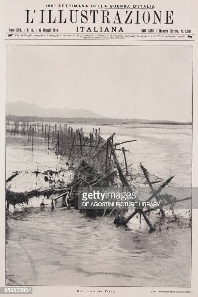 Barbed wire fences on the River Piave Italy World War I from l'Illustrazione Italiana Year XLV No 19 May 12 1918