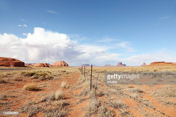 barbed wire in red erath near Monument Valley