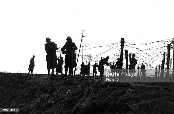 Barbed wire installed on the front December 1939 France World War II