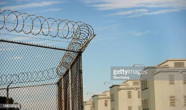 Barbed wire marks the perimeter of Deuel Vocational Institution in Tracy California US on Thursday Oct 11 2012The primary purpose of the Deuel...