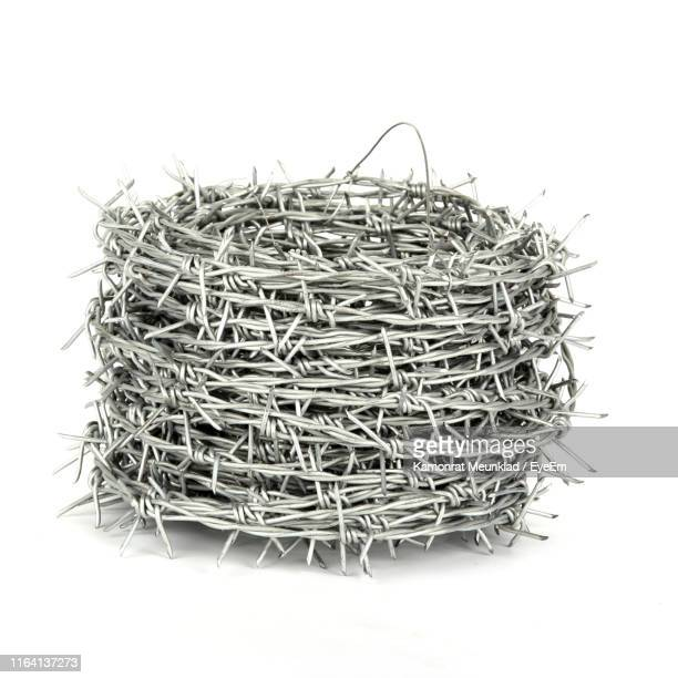 barbed wire on white background - barbed wire stock pictures, royalty-free photos & images