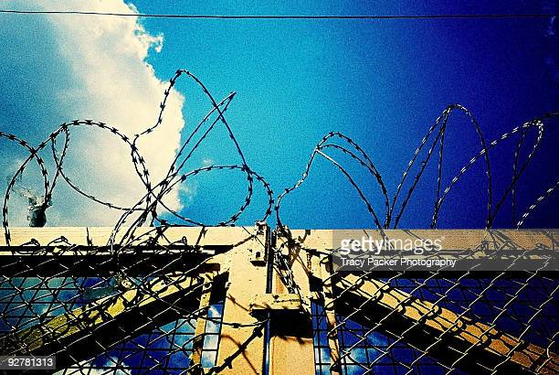Barbed Wire Protects a Gate.