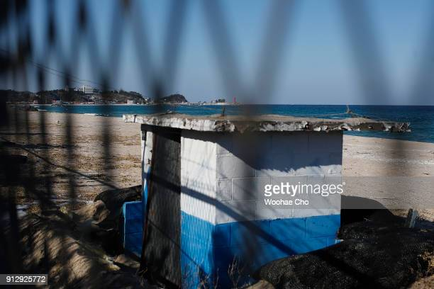 barbed wire stand along the beach in Yangyang Ganwon province in South Korea on February 1 2018 The North Korean athletes attending the PyeongChang...