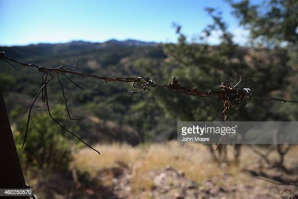 Barbed wire stretches across a hillside portion of the USMexico border fence on December 9 2014 in Nogales Arizona With increased manpower and...