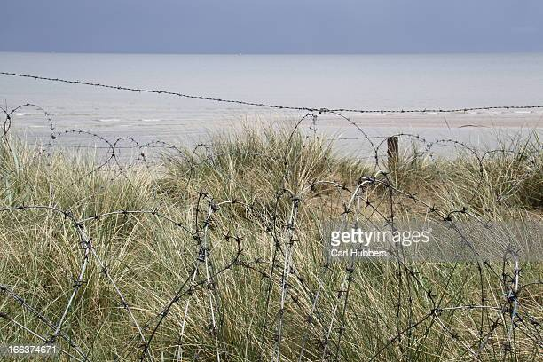 Barbed wire Utah Beach, Normandy, D Day landing beach 1944