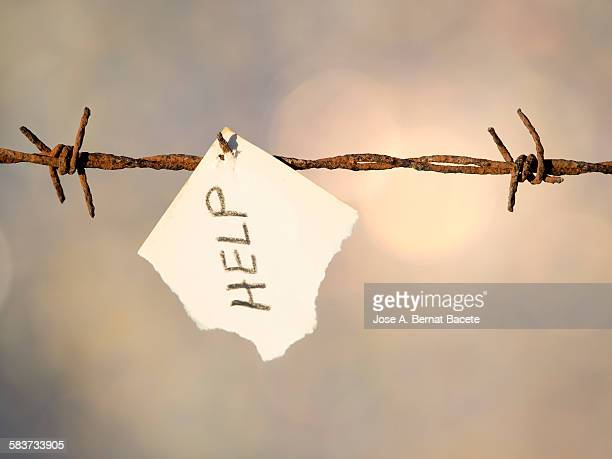Barbed wire with a paper with a message.