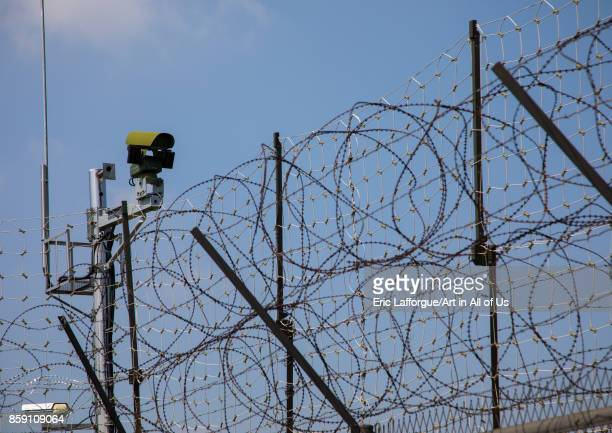 Barbed wires and CCTV on the DMZ North Hwanghae Province Panmunjom South Korea on September 8 2017 in Panmunjom South Korea