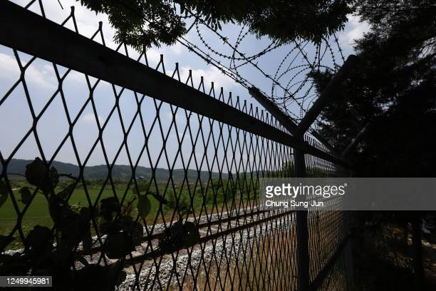 Barbed-wire fence is seen at the Imjingak Pavilion, near the demilitarized zone on June 16, 2020 in Paju, South Korea. North Korea's military said...