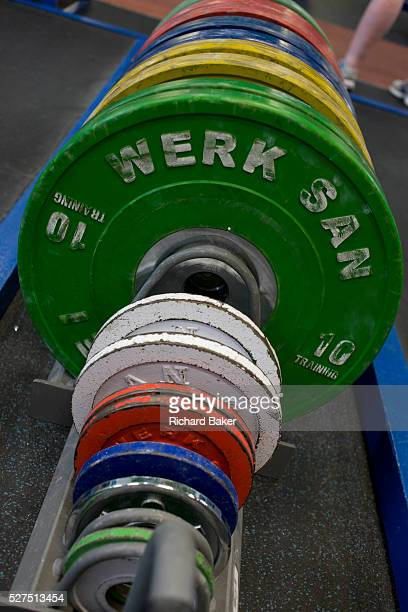 Barbell weights at the Sports Institute University of Ulster Northern Ireland The detail view of the discs are seen as they are stacked tidily in a...