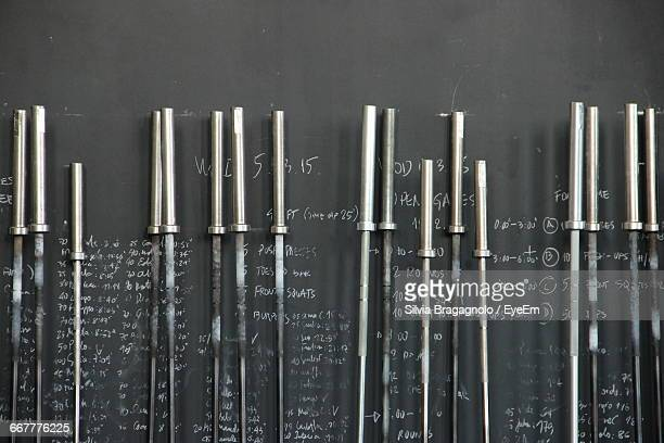 Barbells Against Blackboard With Text