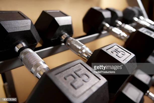 Barbells set at indoor gym