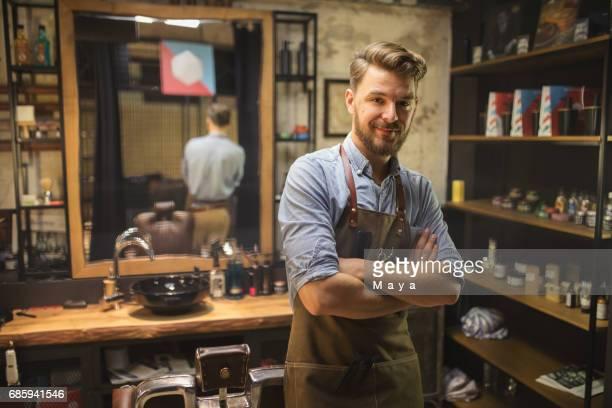 Barber at his salon
