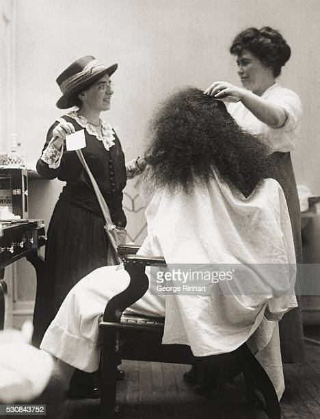 Barber Day Celebration July 27th by the Woman's Suffrage Party in Manhattan and Bronx Miss Klatschken reforming a hair dresser