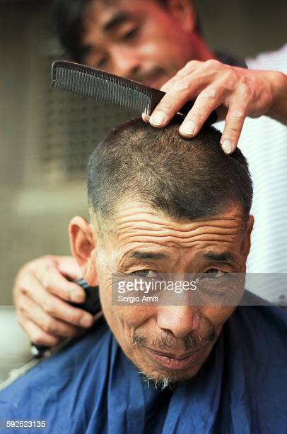 Barber in the Chinese countryside