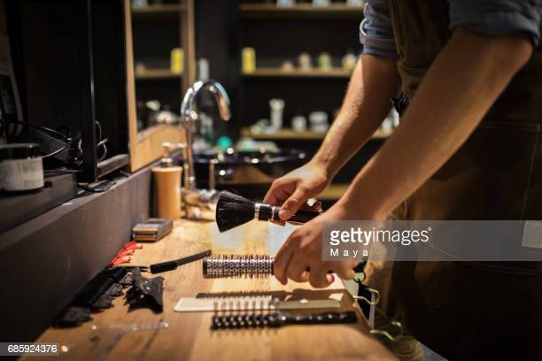 barber preparing salon - shaving brush stock photos and pictures