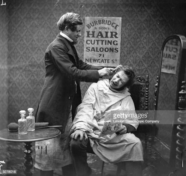 A barber pulling a comb through the tangled hair of a customer in obvious pain London Stereoscopic Company Comic Series 49
