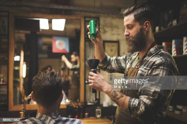 Barber putting powder brush
