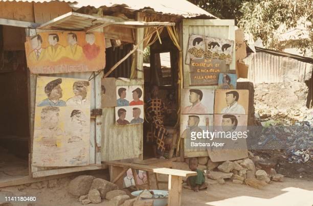 A barber shop in Abidjan Ivory Coast February 1975