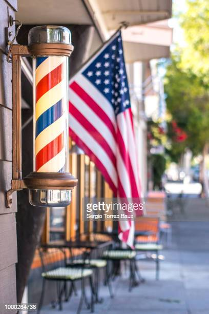 barber shop in sausalito - barber pole stock pictures, royalty-free photos & images