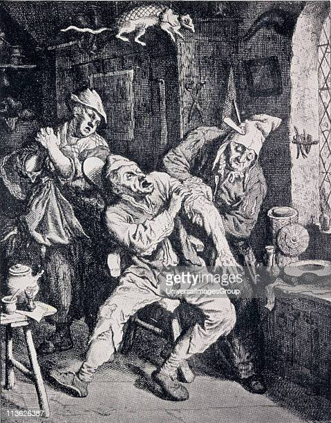 A barber surgeon operating in his office