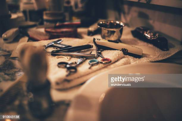barber vintage tools for beard grooming in retro barber shop - barber shop stock photos and pictures