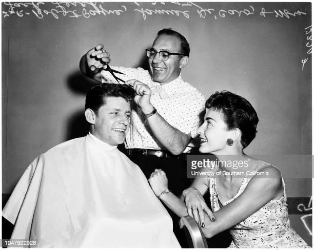 Barbers convention, 22 June 1958. Robert Payne ;Mrs Jack Lesch ;Samuel DiCaro .;Caption slip reads: 'Photographer: Rustan. Date: . Reporter: Adler....