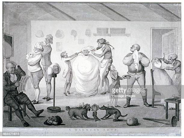 'A barber's shop' 1784 The interior of a barber's shop during the Westminster election of 1784 A man is seated having his hair combed by a boy from...