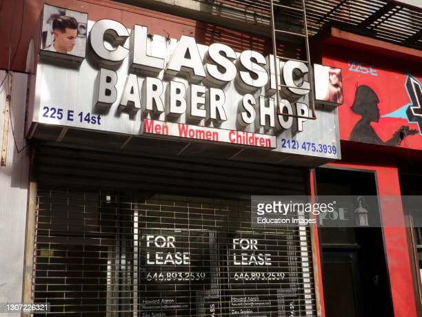 Barbershop Business lost during to pandemic, Manhattan, New York.