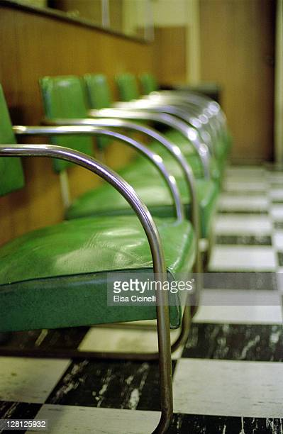 Barbershop, Green leather chairs and checked floor