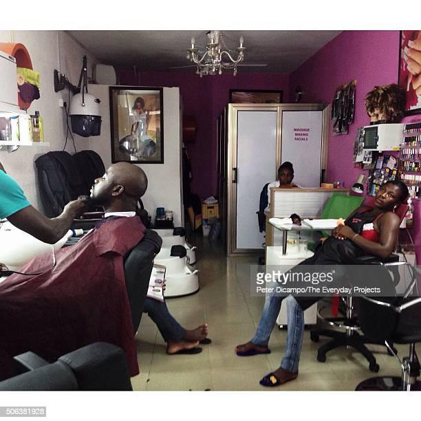 Barbershop in the Osu neighborhood of Accra Ghana April 24 2014
