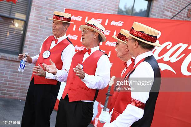A barbershop quartet performs at Variety's Power of Youth presented by Hasbro Inc and generationOn at Universal Studios Backlot on July 27 2013 in...