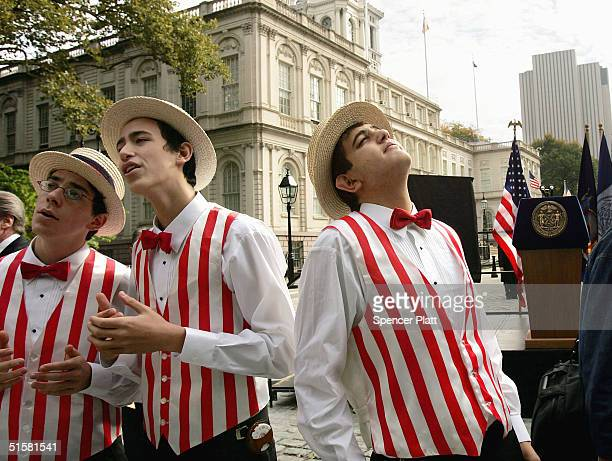A barbershop quartet performs in front of City Hall during the 100th anniversary of the New York subway October 27 2004 in New York City The New York...