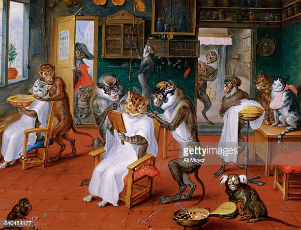 Barbershop with Monkeys and Cats by Abraham Teniers