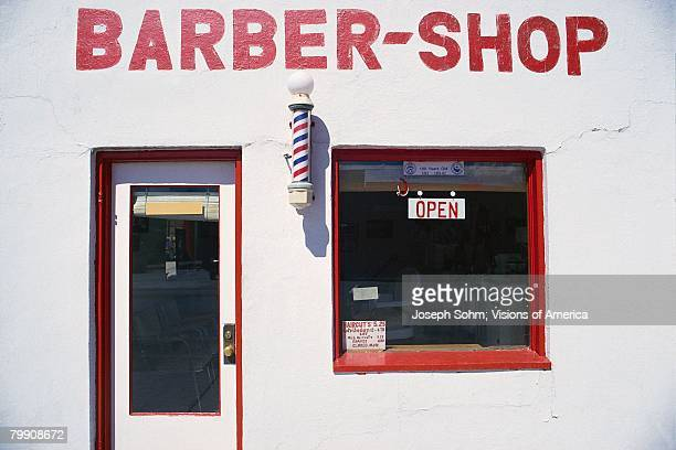 Barbershop with Open Sign in the Window
