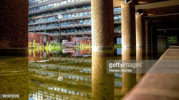 Barbican apartment block pond reflections