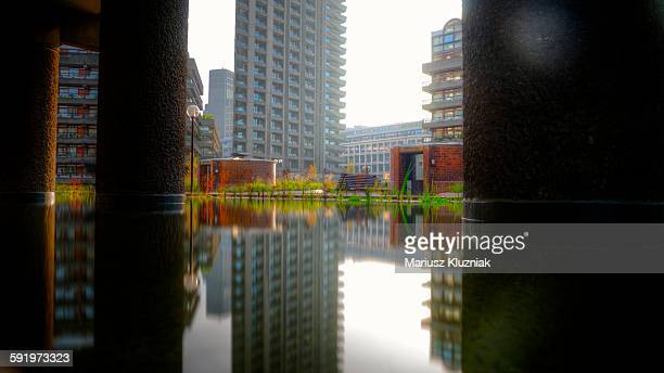Barbican Lauderdale Tower pool reflections
