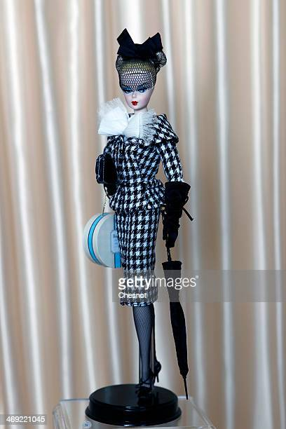 Barbie doll created in 2011 by Robert Best is displayed during the exhibition 'Barbie retro chic' at the 'Musee de la poupee' on February 13 in Paris...