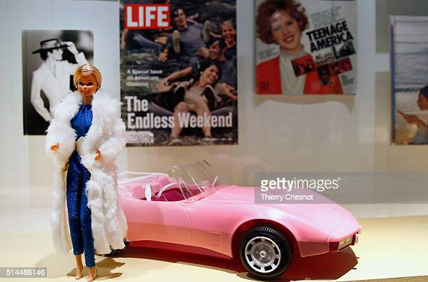 Barbie doll is displayed during the exhibition 'Barbie life of an icon' at the Museum of Decorative Arts as part of the Paris Fashion Week Womenswear...