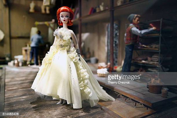 Barbie doll is on display during the exhibition 'Barbie life of an icon' at the Museum of Decorative Arts as part of the Paris Fashion Week...